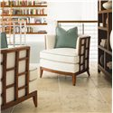 Tommy Bahama Home Ocean Club Exposed Grid Pattern Wood Abaco Chair - Shown with Tradewinds Bookcase/Etegere