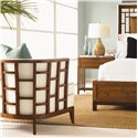 Tommy Bahama Home Ocean Club Exposed Grid Pattern Wood Abaco Chair - Shown with Paradise Bed and Kaloa Nightstand