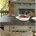 Lexington Twilight Bay Shelter Island Bistro Table - A Hammered Stainless Steel Top with Pewter Nail Head Trim Brings the Essence of French Laundry Styling to the Shelter Island Bistro Table