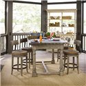 Lexington Twilight Bay Shelter Island Bistro Table - Shown with Dalton Counter Stools, and Merideth Console with Hutch in Antique Linen Finish