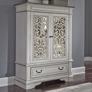 Traditional 2 Door 1 Drawer Chest with Mirror Panel Door Fronts