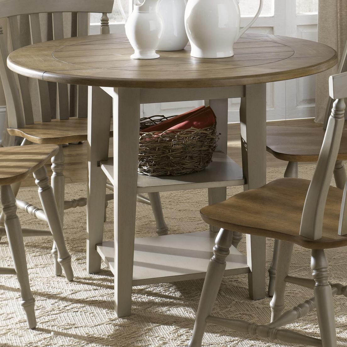 Round Drop-Leaf Dining Leg Table