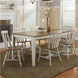Seven Piece Rectangular Table and Slat Back Chairs Set