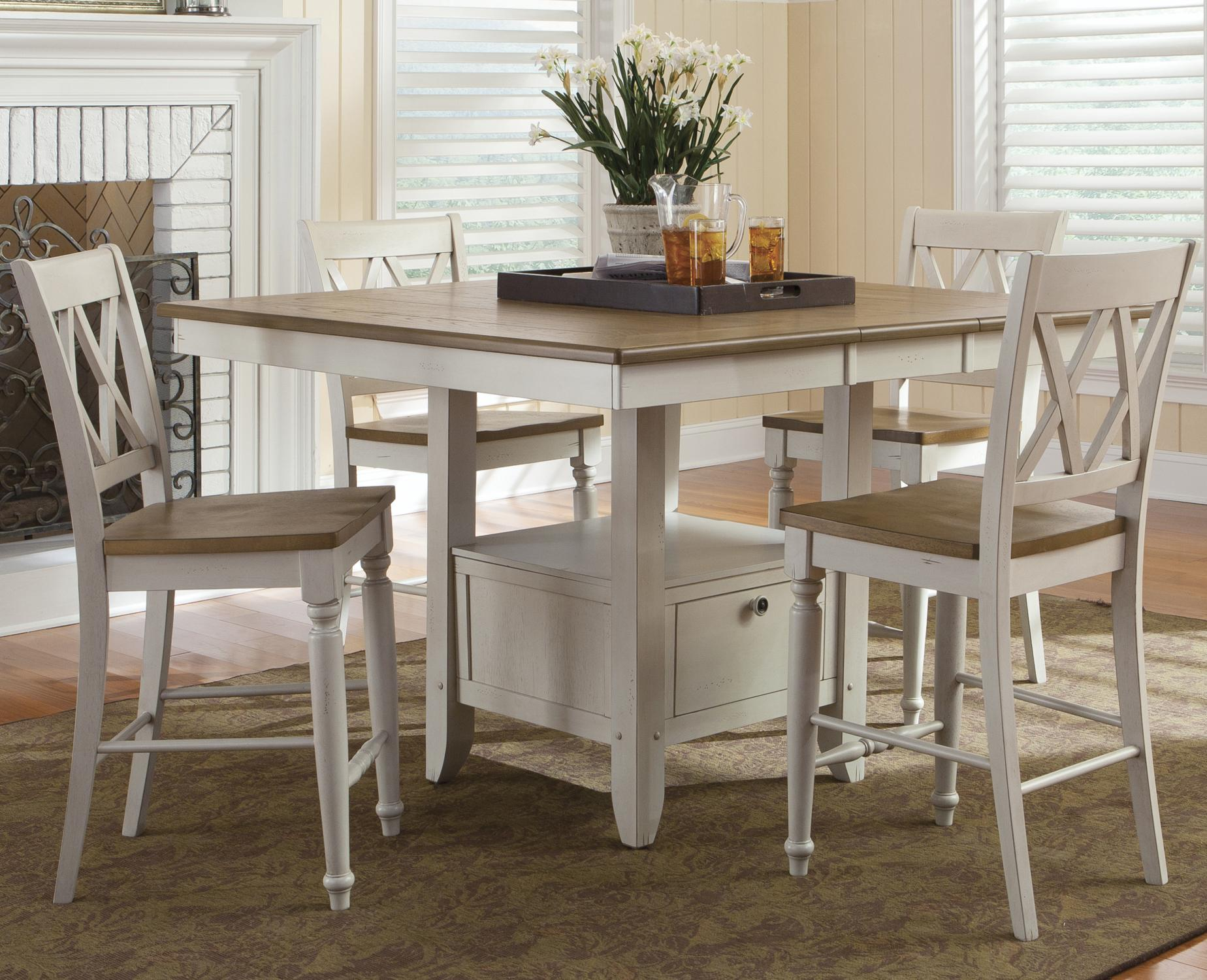Five Piece Gathering Table with Counter Height Double X-Back Chairs ...