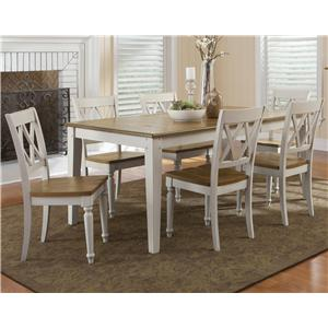 Seven Piece Rectangular Table and Double X-Back Chairs Set