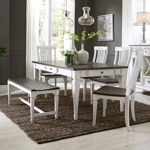 Transitional 6 Piece Rectangular Table Set
