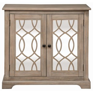 Transitional 2 Door Mirrored Accent Cabinet