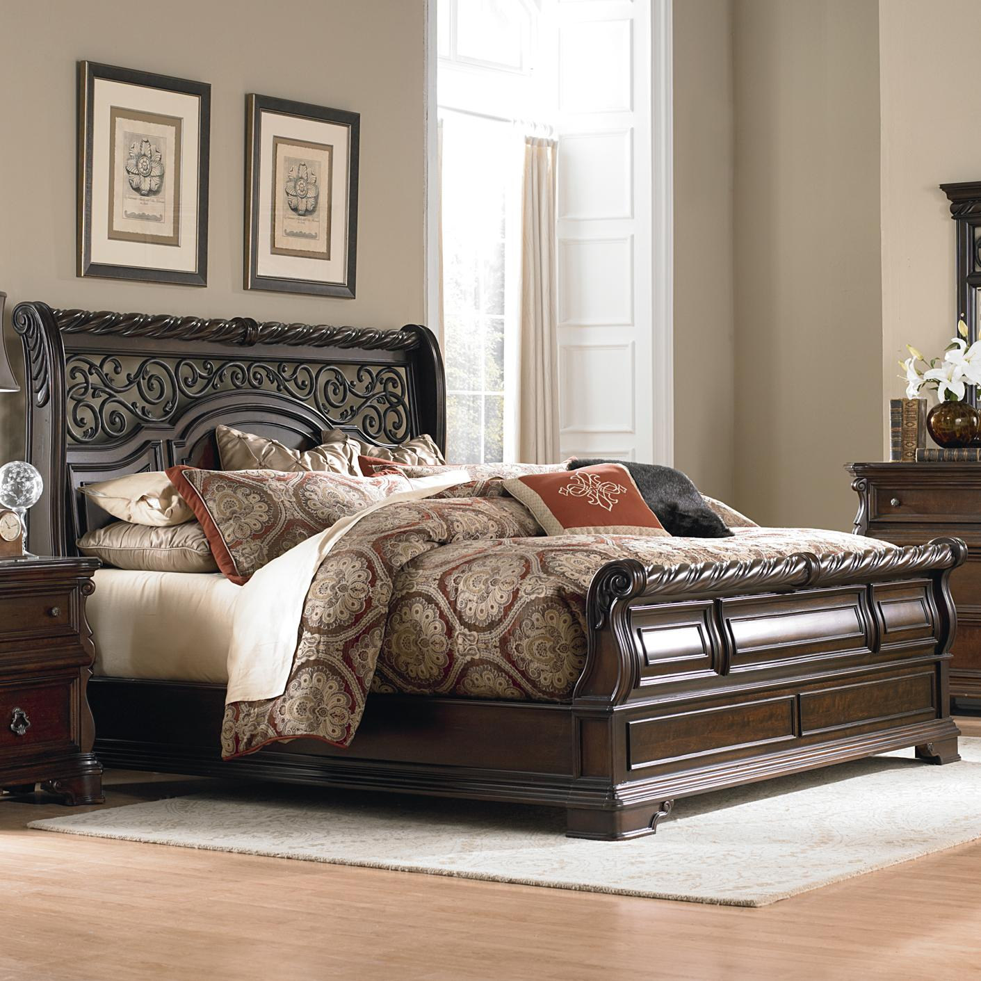 king sleigh bedroom set king traditional sleigh bed by liberty furniture wolf 15762