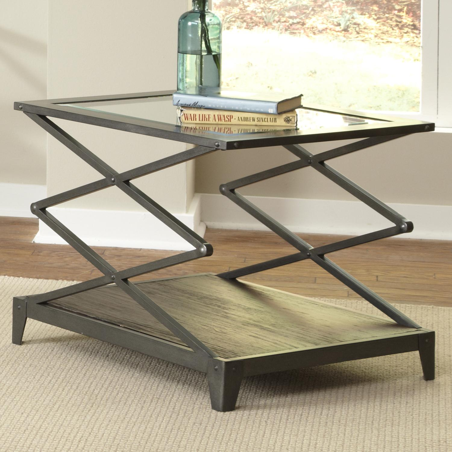 Glass top end table with scissor lift frame by liberty furniture glass top end table with scissor lift frame geotapseo Choice Image