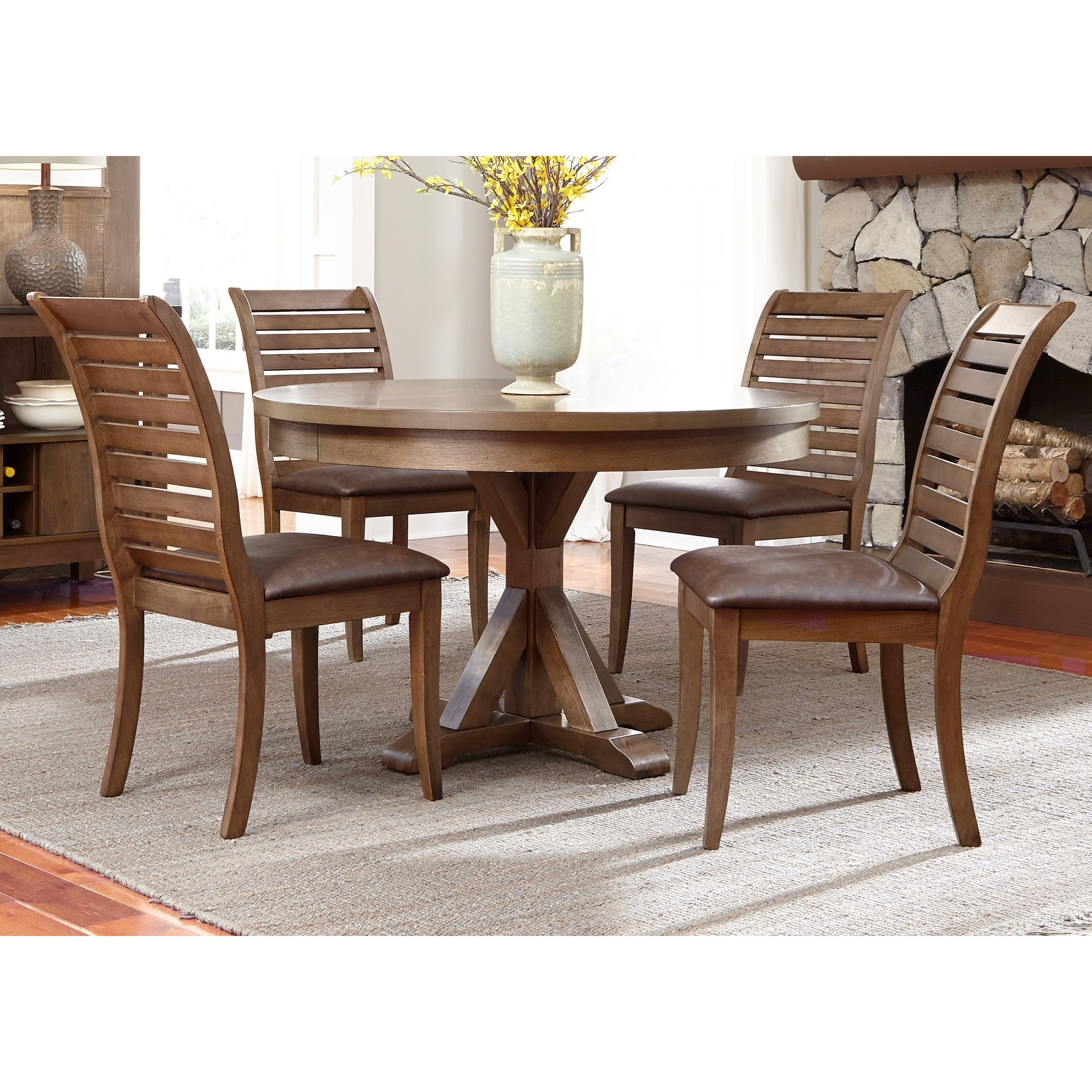 5 Piece Round Table Set with Cushioned Chairs by Liberty Furniture