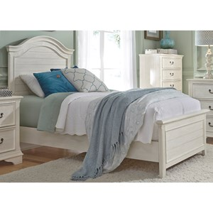 Transitional Twin Panel Bed with Arched Panel Headboard
