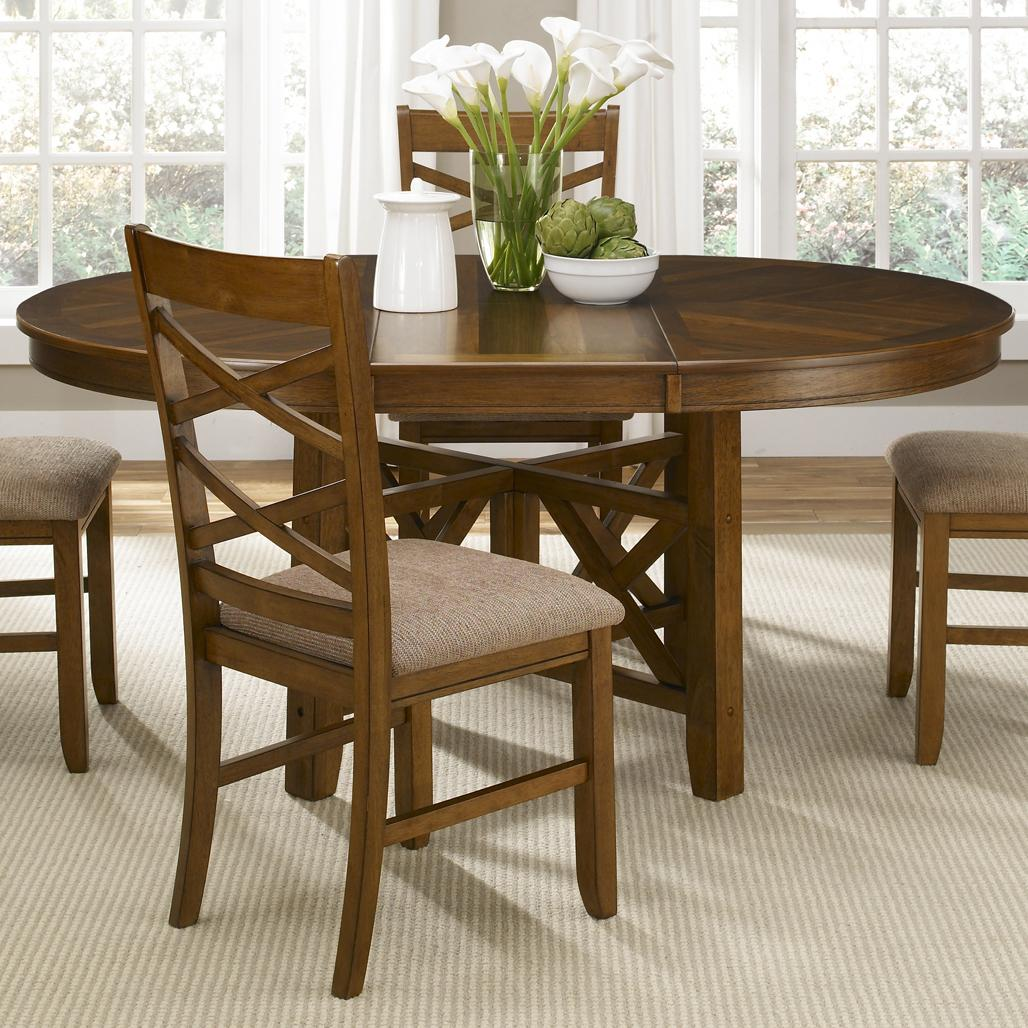 Round To Oval Single Pedestal Dining Table With 18 Inch