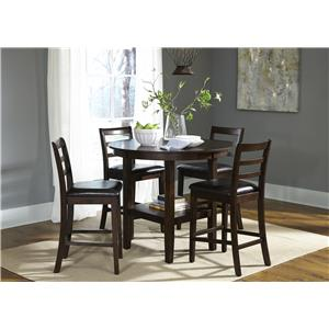5 Piece Round Pub Table and Ladderback Chair Set