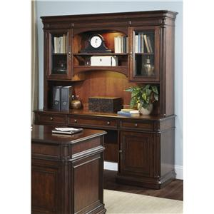 Traditional Credenza and Hutch with Framed Glass Doors