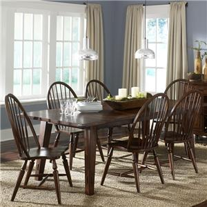 7-Piece Rectangular Leg Table with 6 Windsor Back Side Chairs