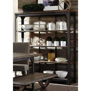 Industrial Open Curio with 4-Shelves