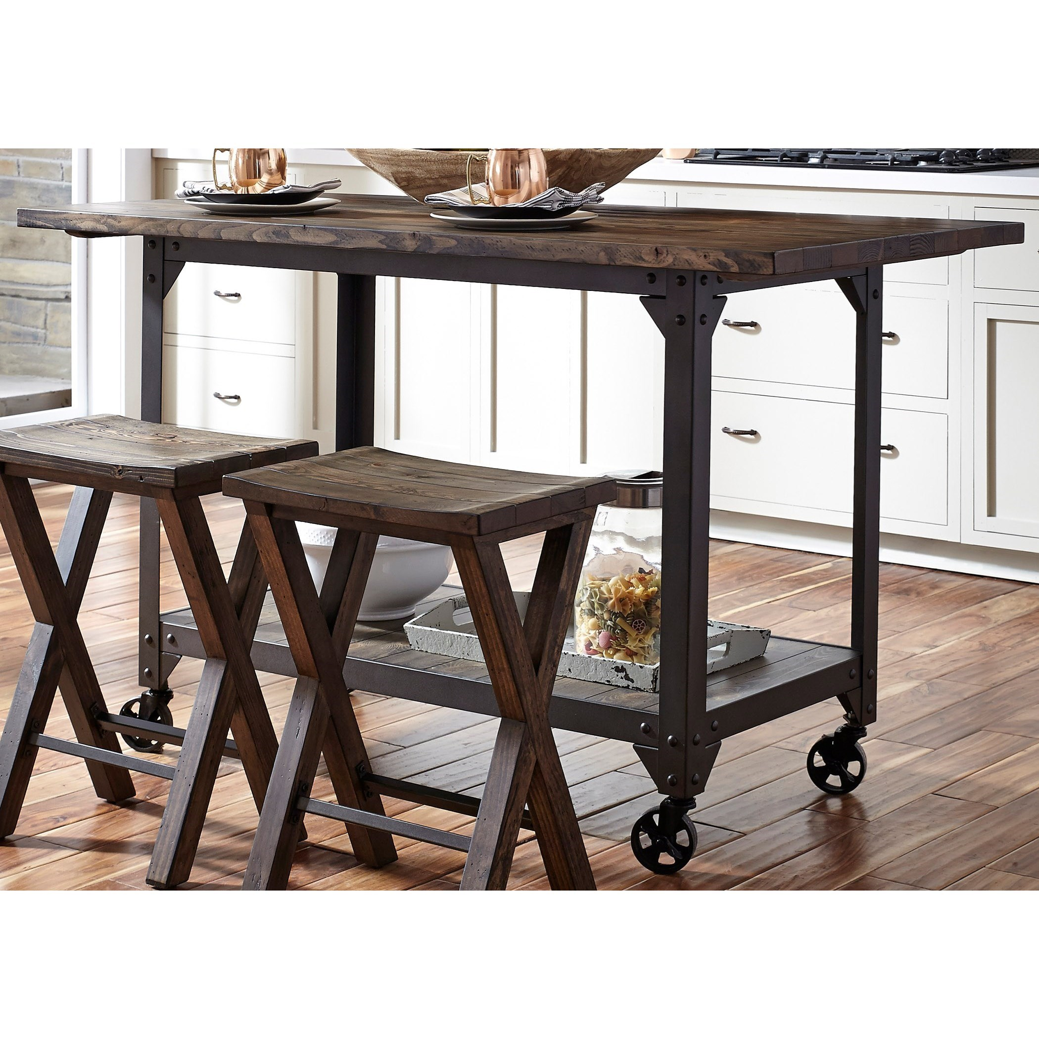 Counter Height Kitchen Island with Industrial Casters