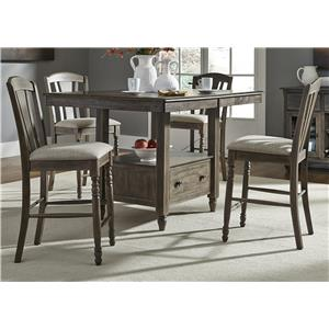 5 Piece Gathering Storage Table and Barstool Set