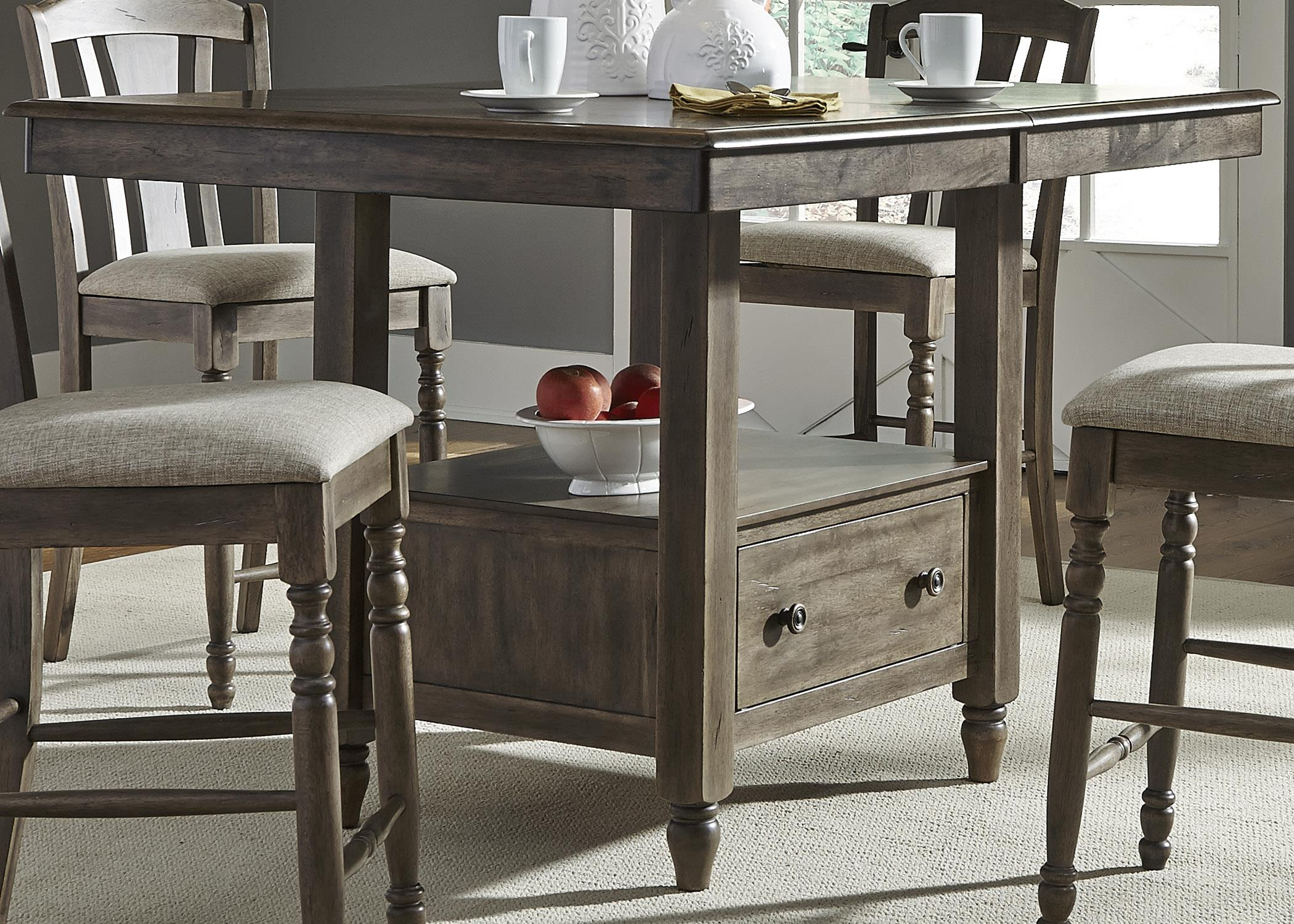 Center Island Gathering Table with Built In Storage by Liberty