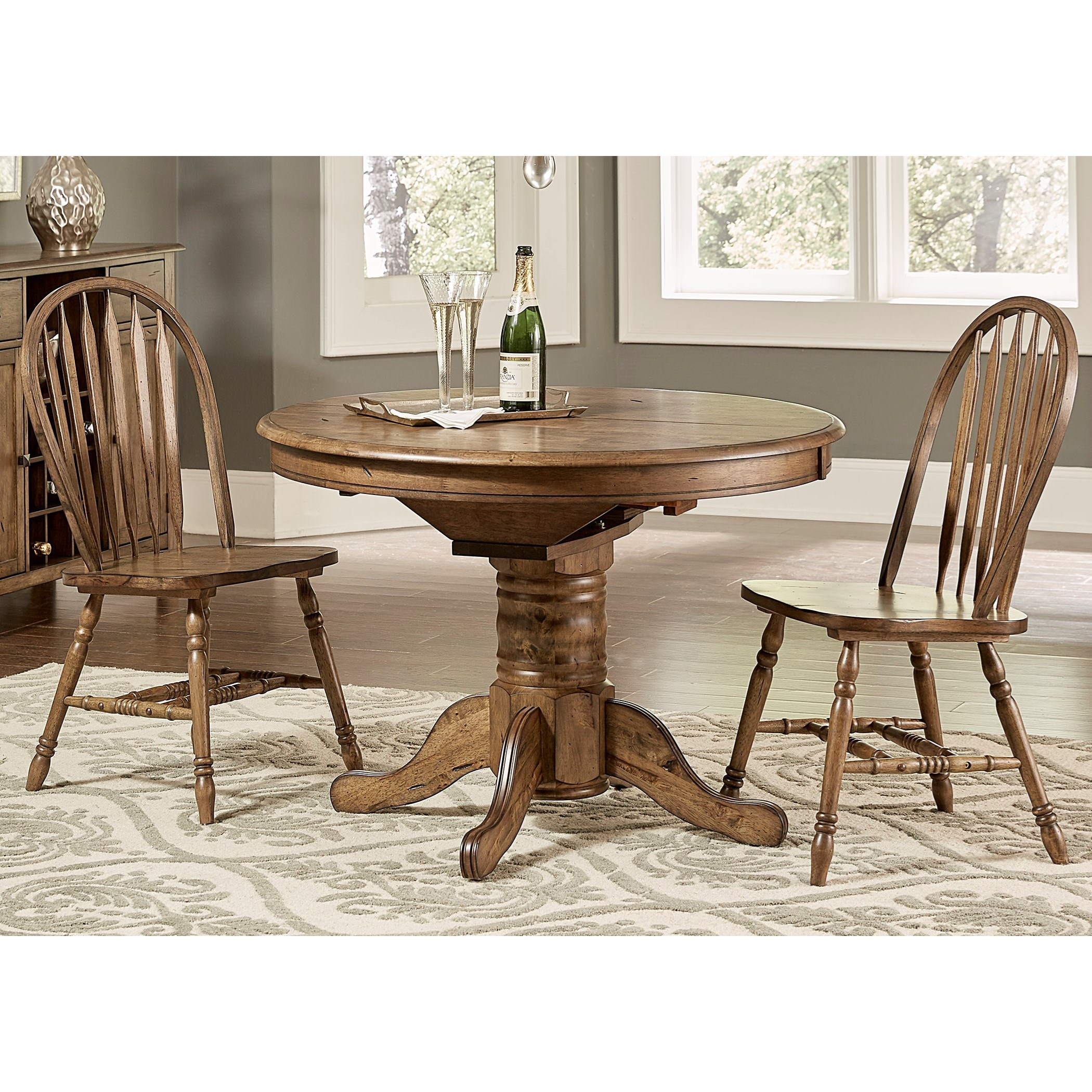 pedestal dining room table with leaf | Transitional Oval Pedestal Dining Table with Table Leaf by ...