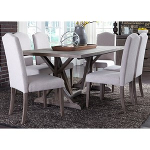 7 Piece Trestle Table Set with Tan Parson's Chairs