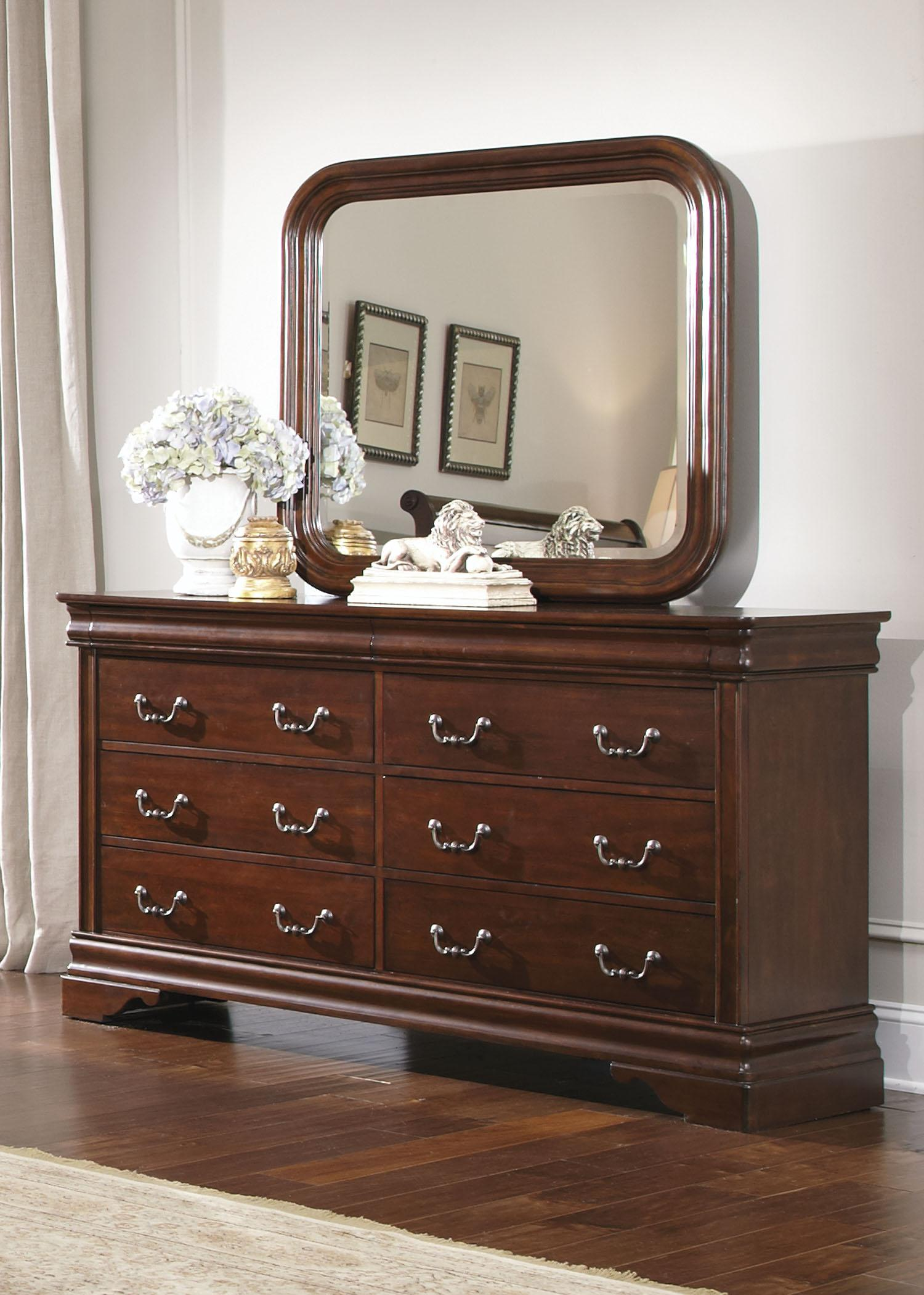 Queen Sleigh Bed Dresser Mirror Chest N S by Liberty Furniture