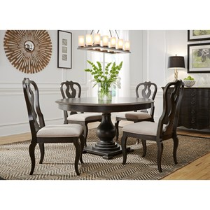 Relaxed Vintage Round Pedestal Table and Chair Set