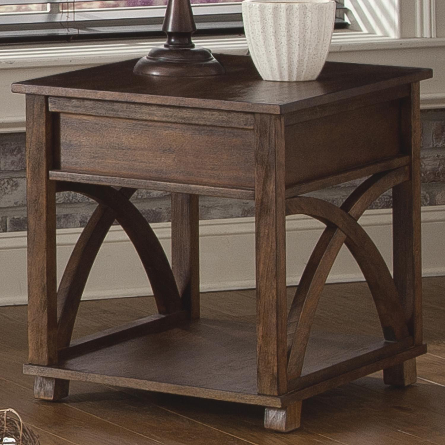 Charming Rectangle End Table With Hidden Drawer