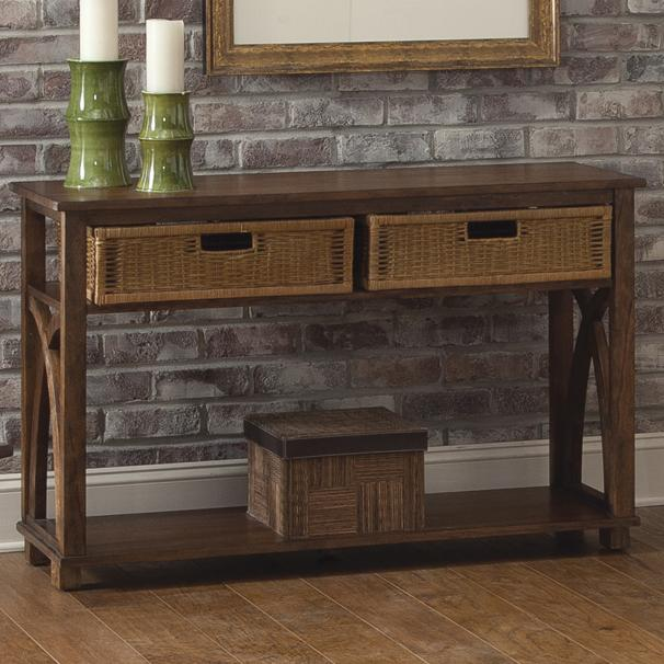 sofa table with basket storage