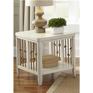 Coastal End Table with Rope Accents
