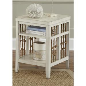 Coastal Chair Side Table with Rope Accents
