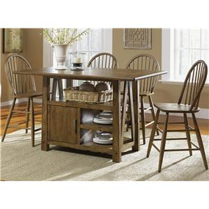 5 Piece Island Pub Table and Windsor Back Counter Chairs Set