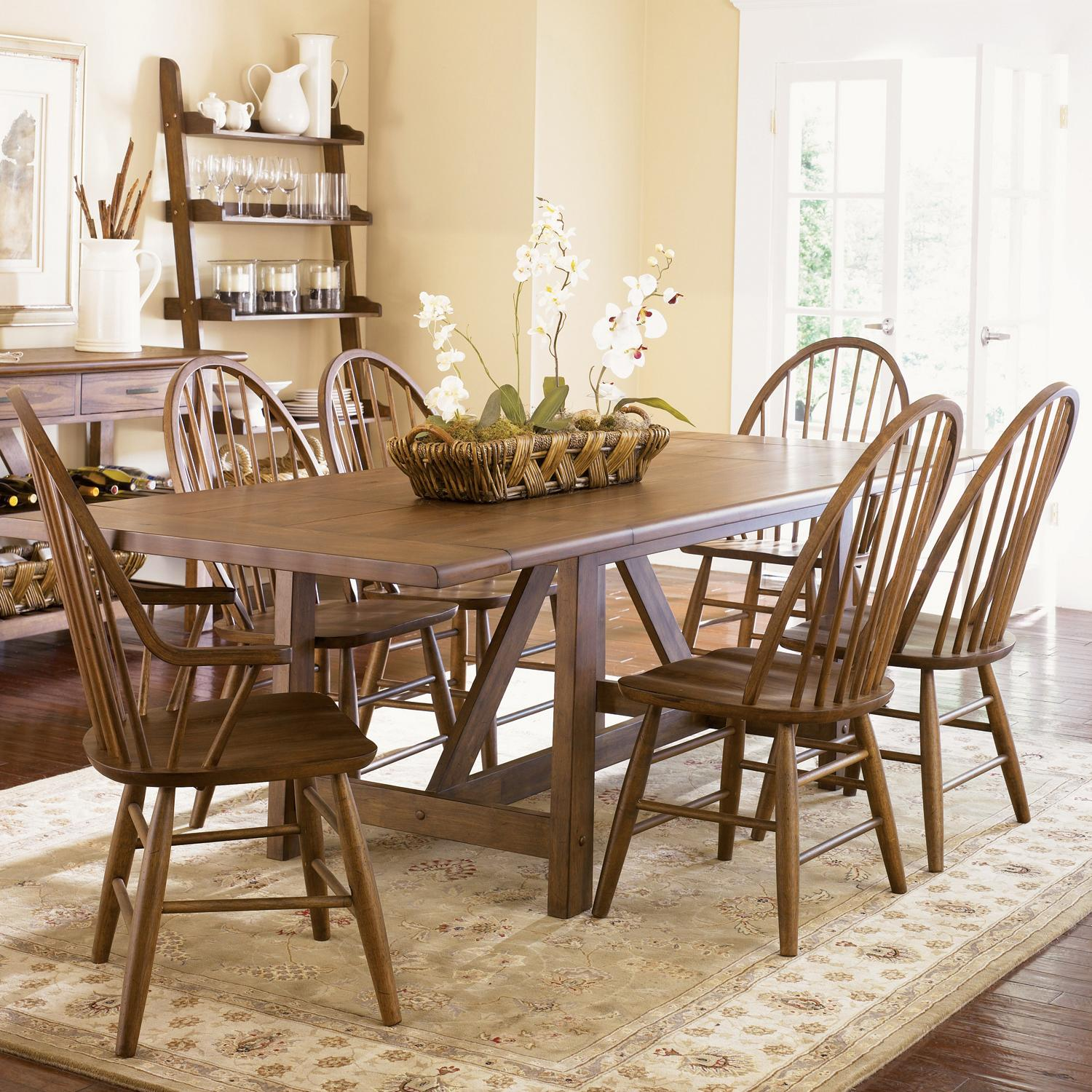 seven piece trestle table and windsor back chair set: seven piece dining set