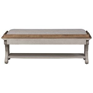 Relaxed Vintage Bed Bench with Bottom Shelf