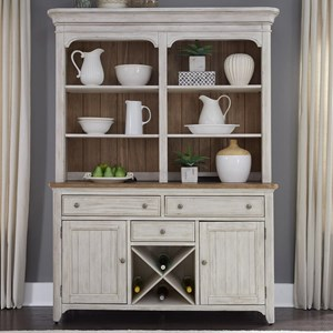 Relaxed Vintage Hutch and Buffet with Fully Stained Interior Drawers