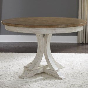 Relaxed Vintage Pedestal Table with 12