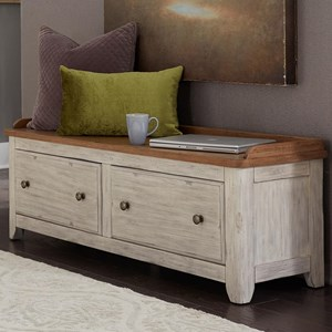 Relaxed Vintage 2 Drawer Storage Hall Bench