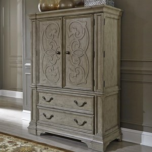 Traditional 2 Door 2 Drawer Chest with Cedar Lined Bottom Drawer