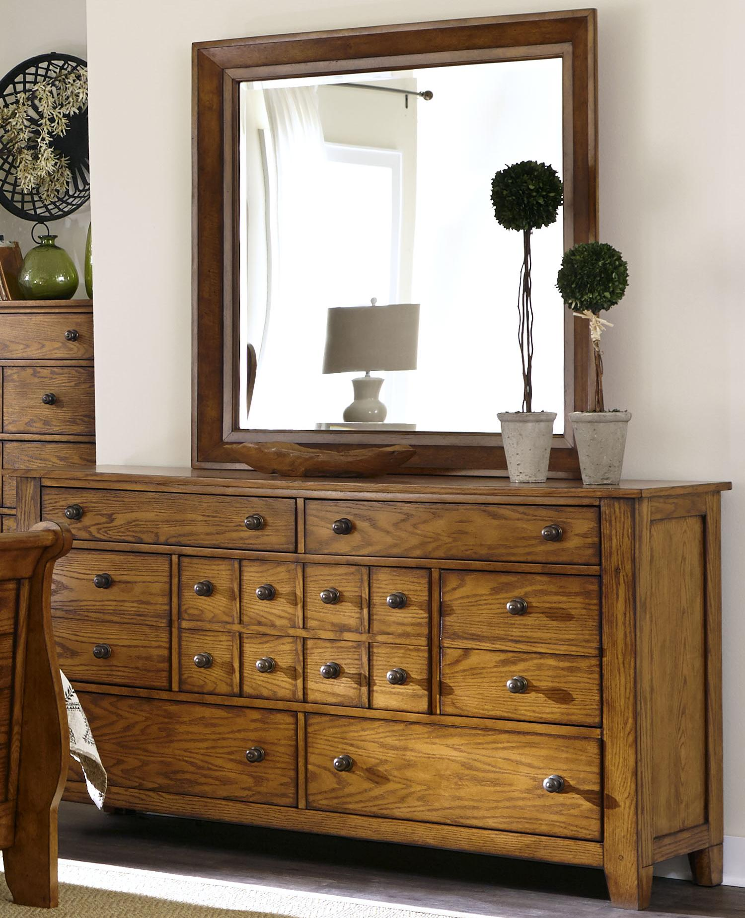 dresser and mirror set with 7 drawers by liberty furniture wolf and gardiner wolf furniture. Black Bedroom Furniture Sets. Home Design Ideas
