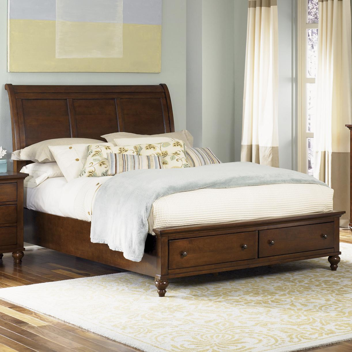 Transitional King Sleigh Bed With  Drawer Storage Footboard