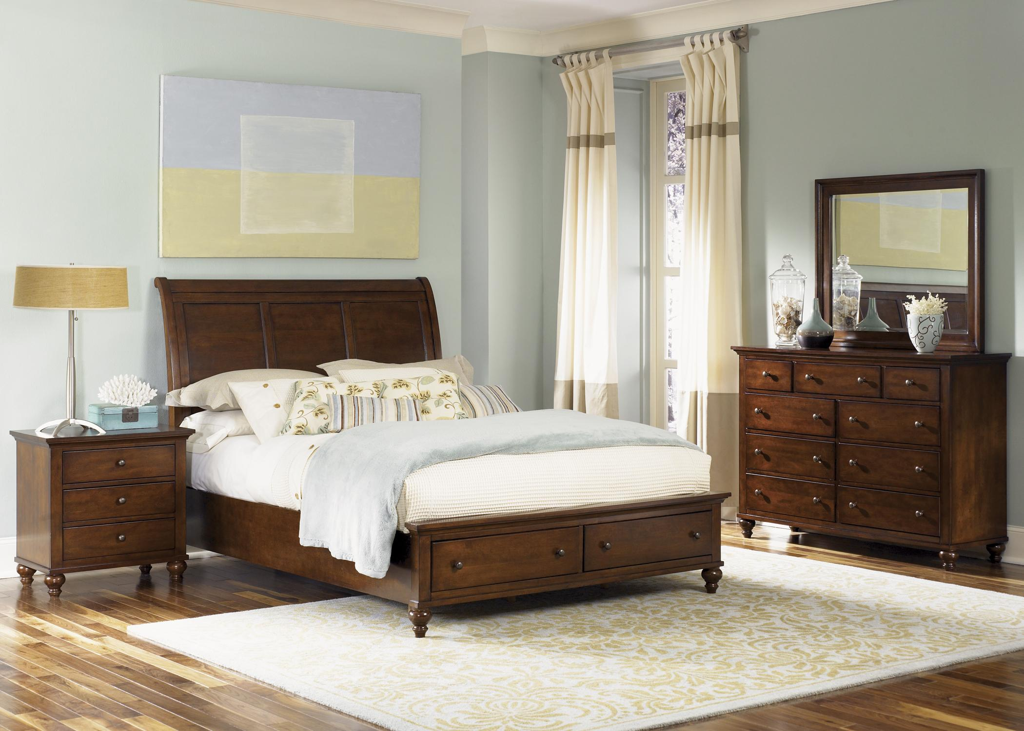 Bedroom Sets York Pa transitional king sleigh bed with 2 drawer storage footboard