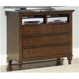 Transitional Media Chest with 5 Drawers