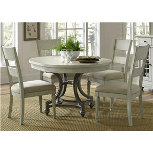 Round Table and 4 Upholstered Chair Set