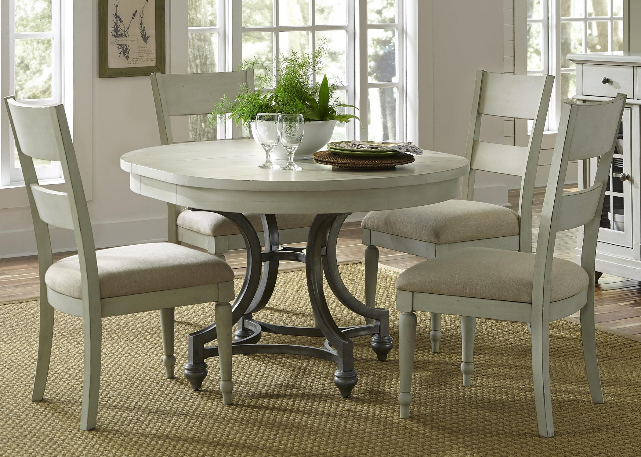 Round Table with 4 Slat Back Chairs Set by Liberty Furniture