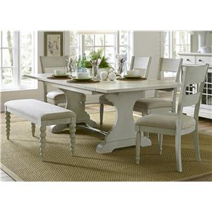 Trestle Table with 4 Slat Back Chairs and Dining Bench