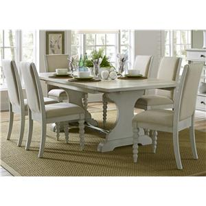 Trestle Table with 6 Upholstered Side Chairs