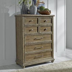 Relaxed Vintage 5 Drawer Chest with Felt Lined Top Drawers