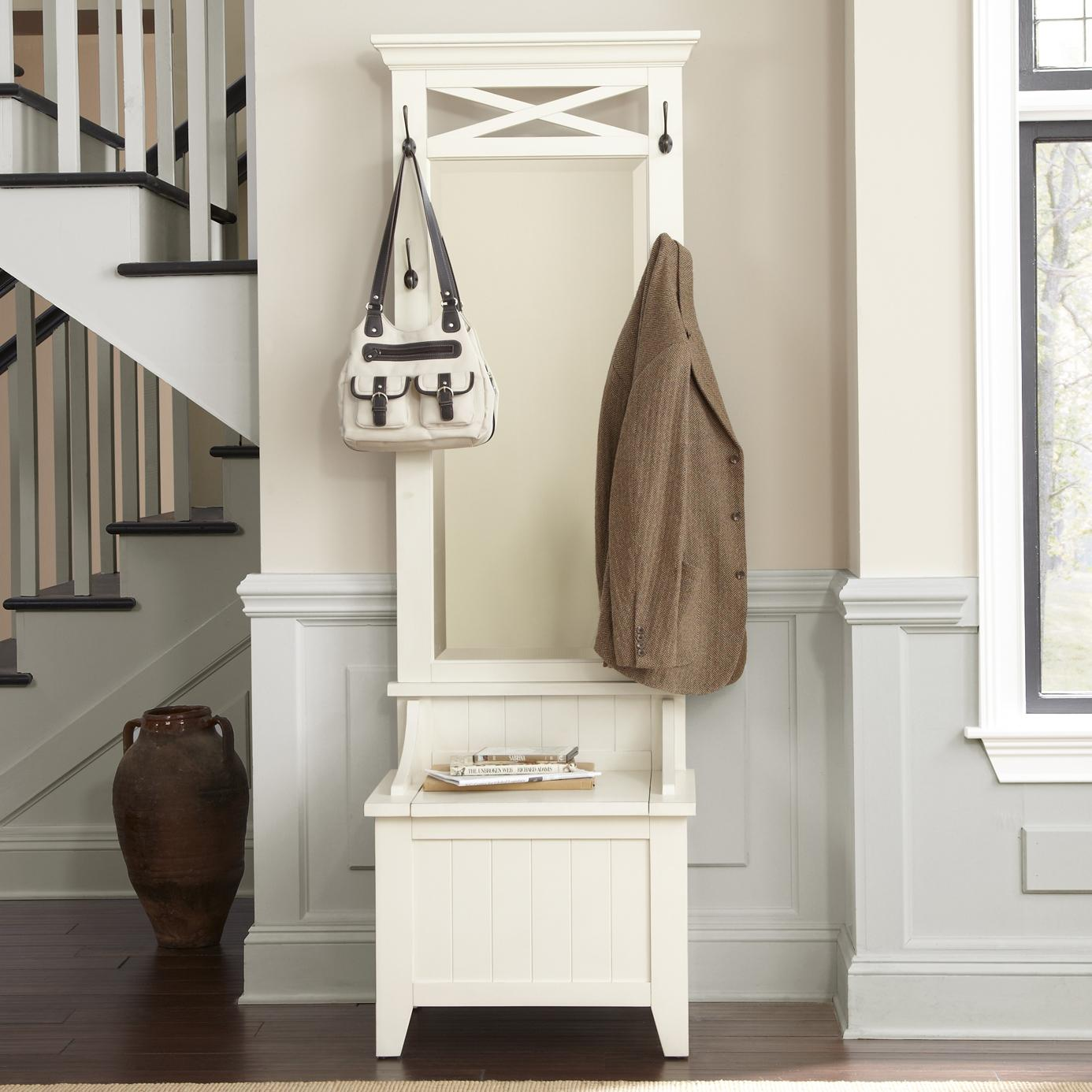 Entryway Hall Tree With Mirror And Bench By Liberty Furniture Wolf