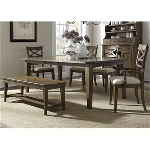 Mission Style 6 Piece Rectangular Table Set