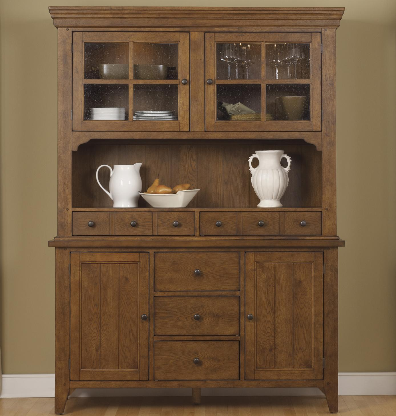 Mission Style Buffet With China Hutch By Liberty Furniture